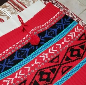 Red Christmas Winter Tribal Cozy Short Skirt